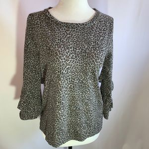 Anthropologie Animal Print Bell Sleeved Top XS